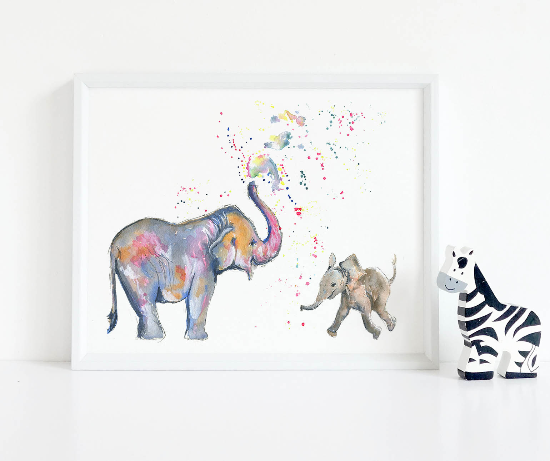Elephant Print-Nursery Print Nursery Wall Decor Print Mummy And Baby Elephant