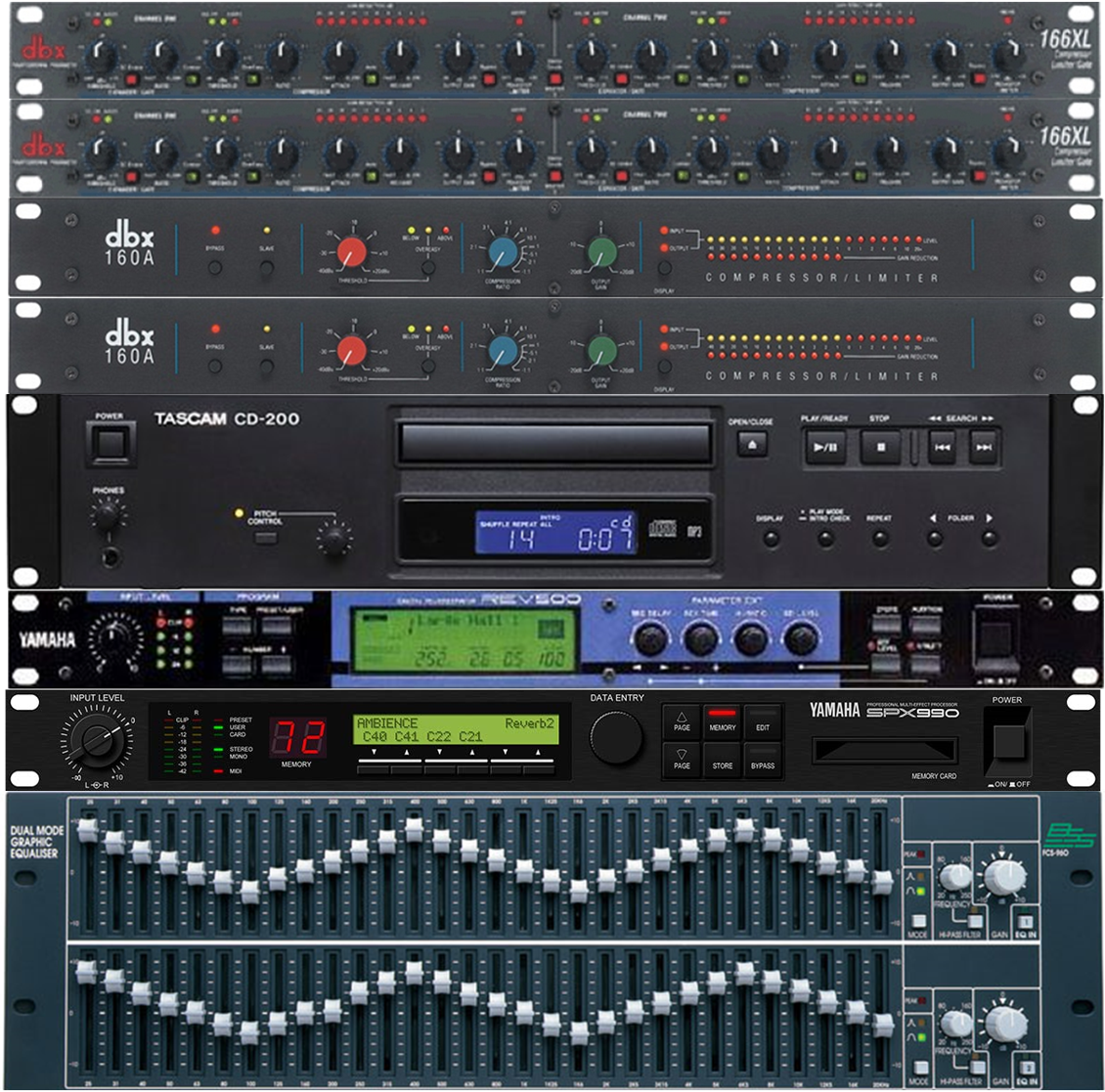 BSS, DBX and Yamaha effects processors.