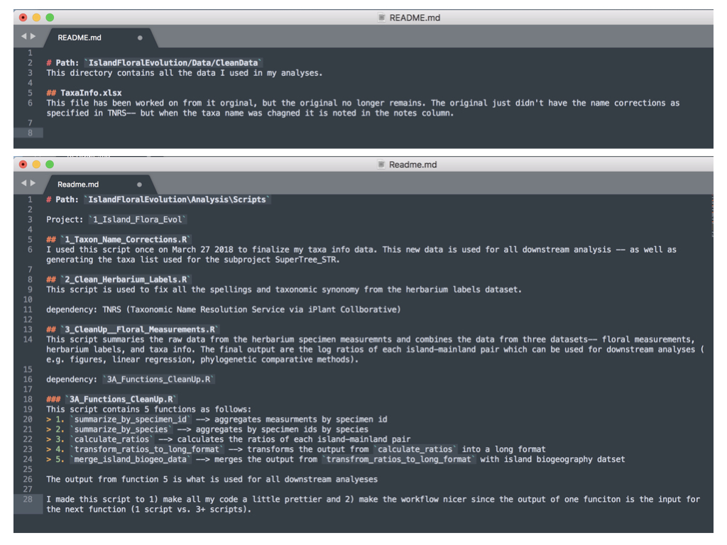 Figure 2. Example README.md files written in Markdown using Sublime text editor. Above: README.md file for a data directory. Below: README.md file for a scripts directory. Notice how the level of detail of each differs.