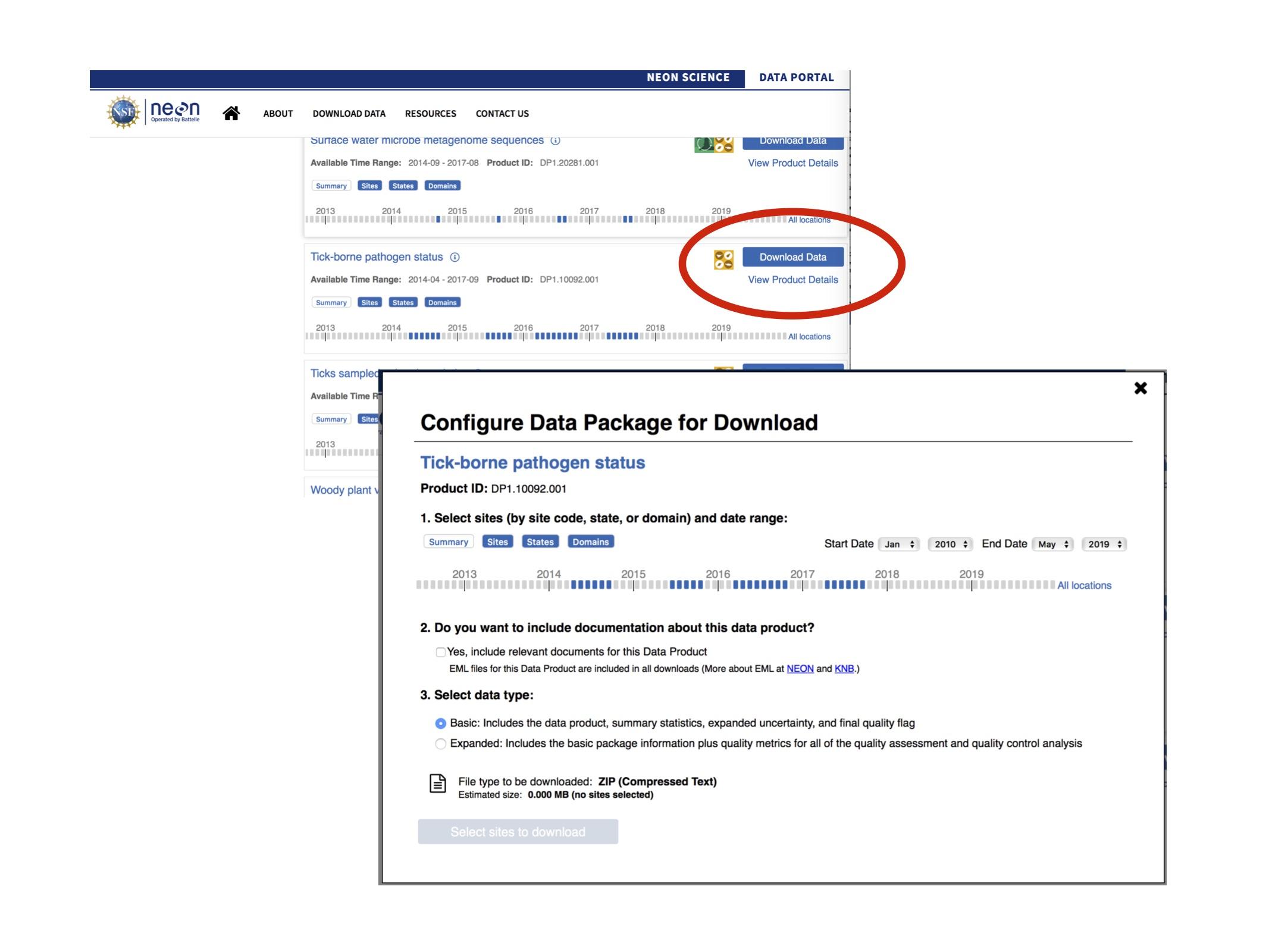 Figure 1. NEON data portal and download.