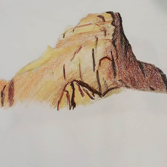 Some more  #sandstone studies from #powell #sketch #pencil #drawing #butte #lake #drawing #utah #arizona #pagearizona #instaart #sketchbook #sketch_book #color #mountains #palette