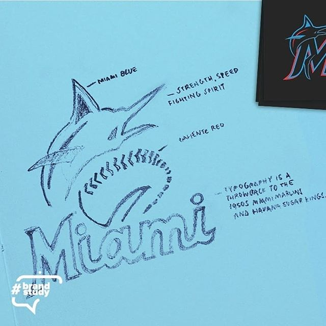 #brandstudy Thursday  Today, the @marlins of Miami dropped their newest logo. A primary mark with the city name spelled out in a retro script and a secondary logo with a large M and jumping marlin.  Color palette: Caliente Red, Miami  Blue, Slate Grey, Midnight Black  This palette is taken from the vibrancy of Hispanic culture in South Florida and is very unique to MLB.  Typography has a Hispanic quality reminiscent of the 1950 Miami Marlins and the Havana Sugar Kings.  Hashtags: #ourcolores #miami #cuba #florida #baseball #color #fishfamily #sports #newera #republicadominicana #puertorico #beisbol #logodesigner #rebranding #havana #jeter #southbeach #vibrantcolors #design #graphic