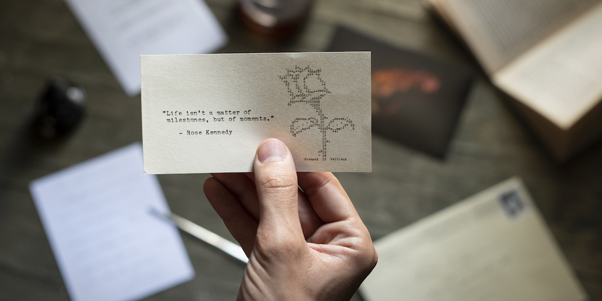 This small work features a typewritten quote by Rose Kennedy and is accompanied by typewriter rose art.