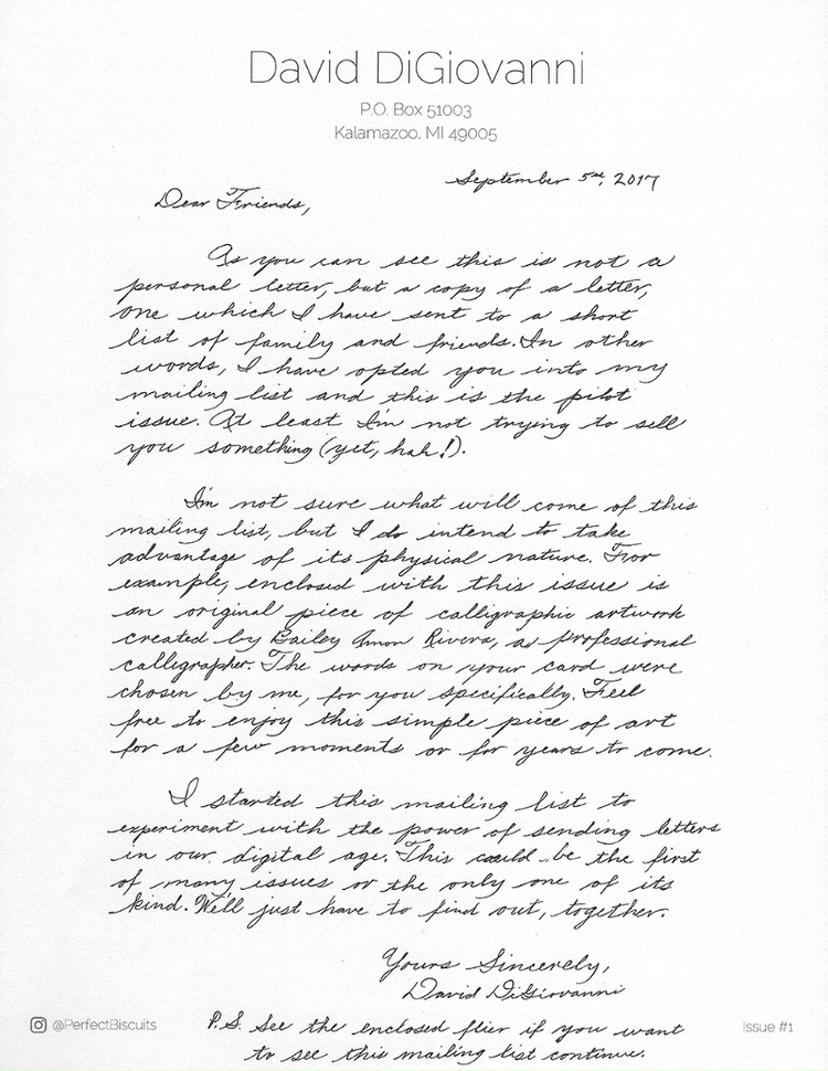 The handwritten note that was included with each letter.