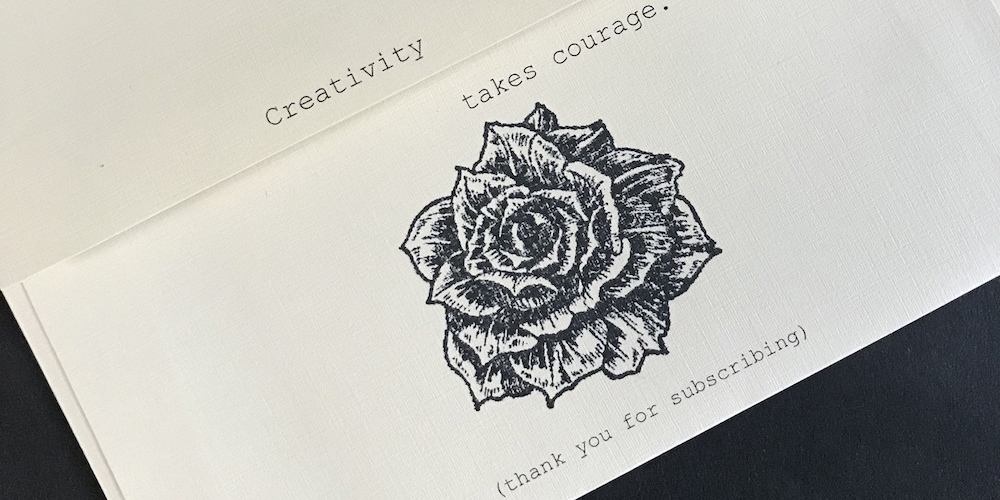 The envelope featured a Posted logo stamp on the front and a rose stamp on the back.