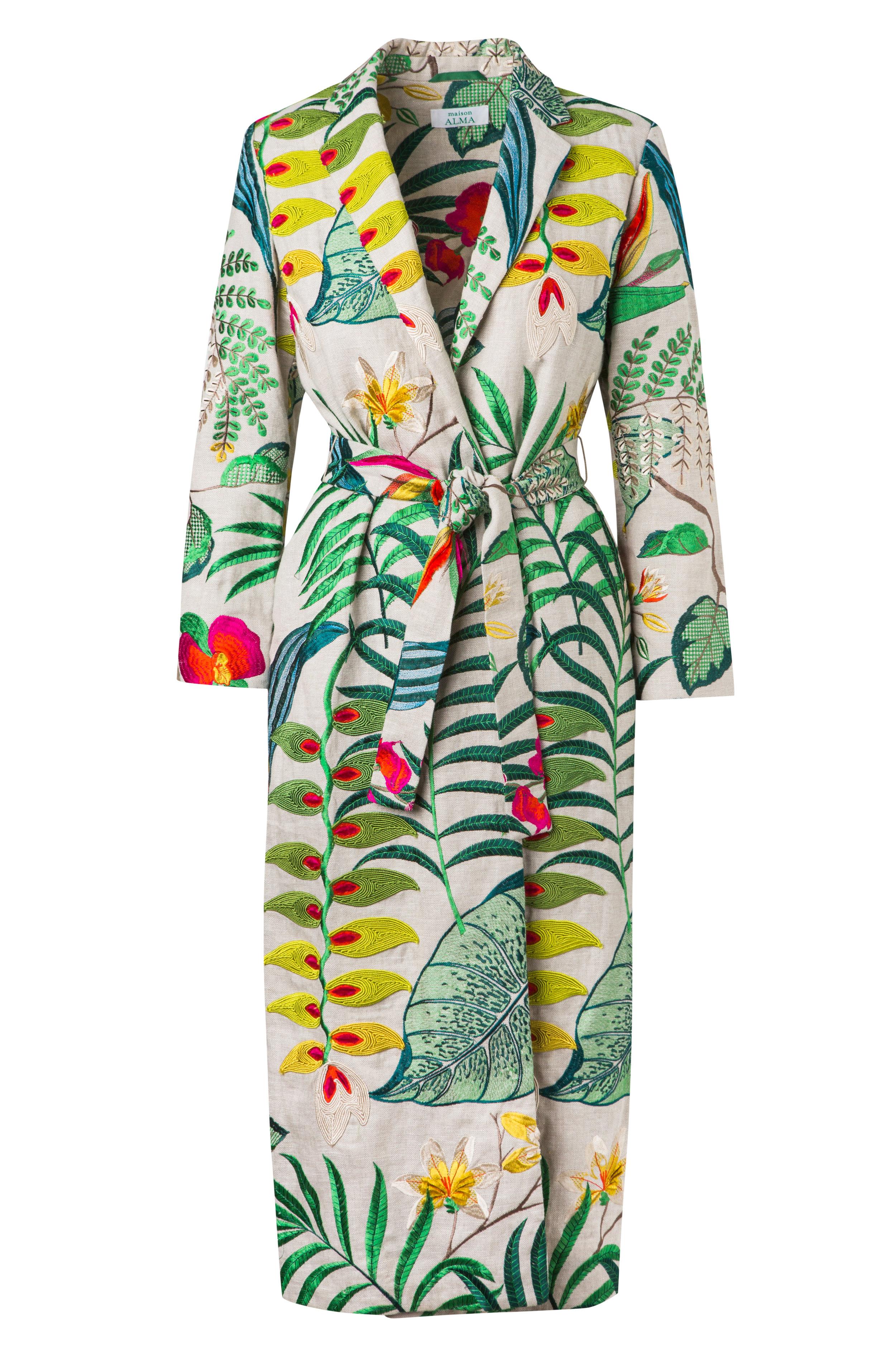 Heliconias  Kimono Wrap Coat