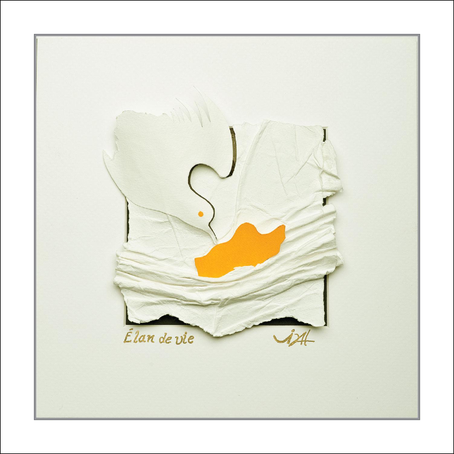 ''Élan de vie'' Tableau-Sculpture en papier sans acide 185 gr, acrylique, dans un écrin blanc vitré de 10 po. X 10 po.