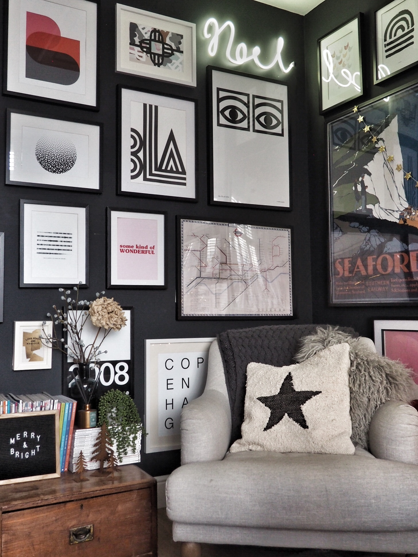 Star cushion from Home of Boho, letter board from Amazon, 'Noel' sign from NEXT.