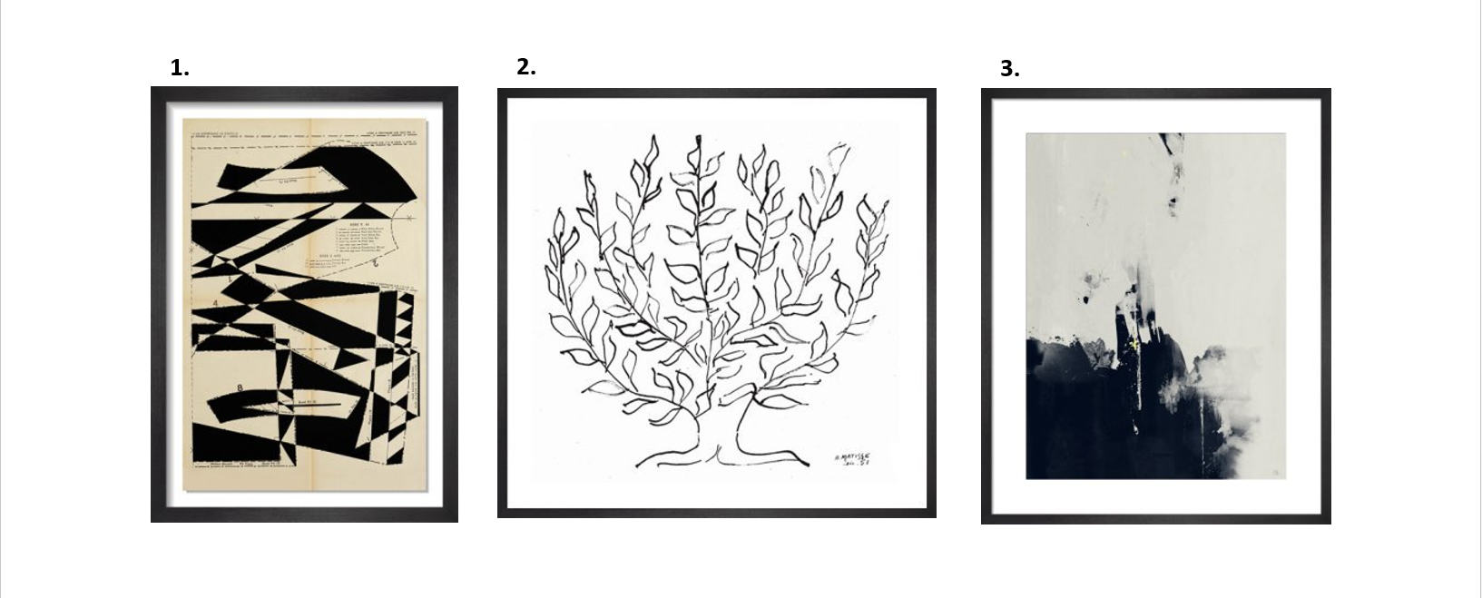 1.  Lost Gardens No.1 by Hormarzd Narielwalla   2. The Plain Tree by Matisse   3.  Into The Light by Michelle Collins