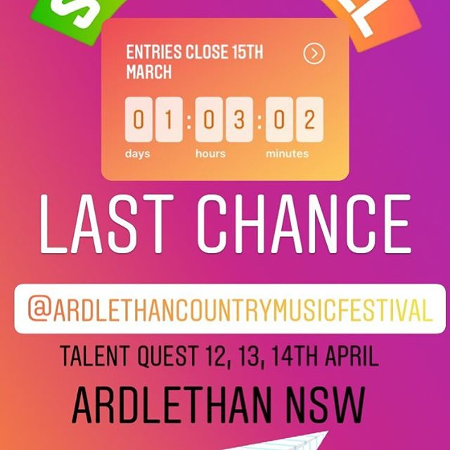 It's a rush to the finish line.... #entries close 15th March.. #Dont miss out on winning a new guitar, recording time or cash prizes because you were to slack to enter on time... 😱 #winning #win #newguitar #countrymusic #camping #festival #lovecountry