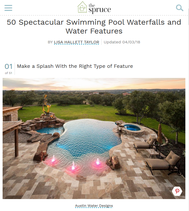 THE SPRUCE - 50 SPECTACULAR SWIMMING POOL WATERFALLS & WATER FEATURES