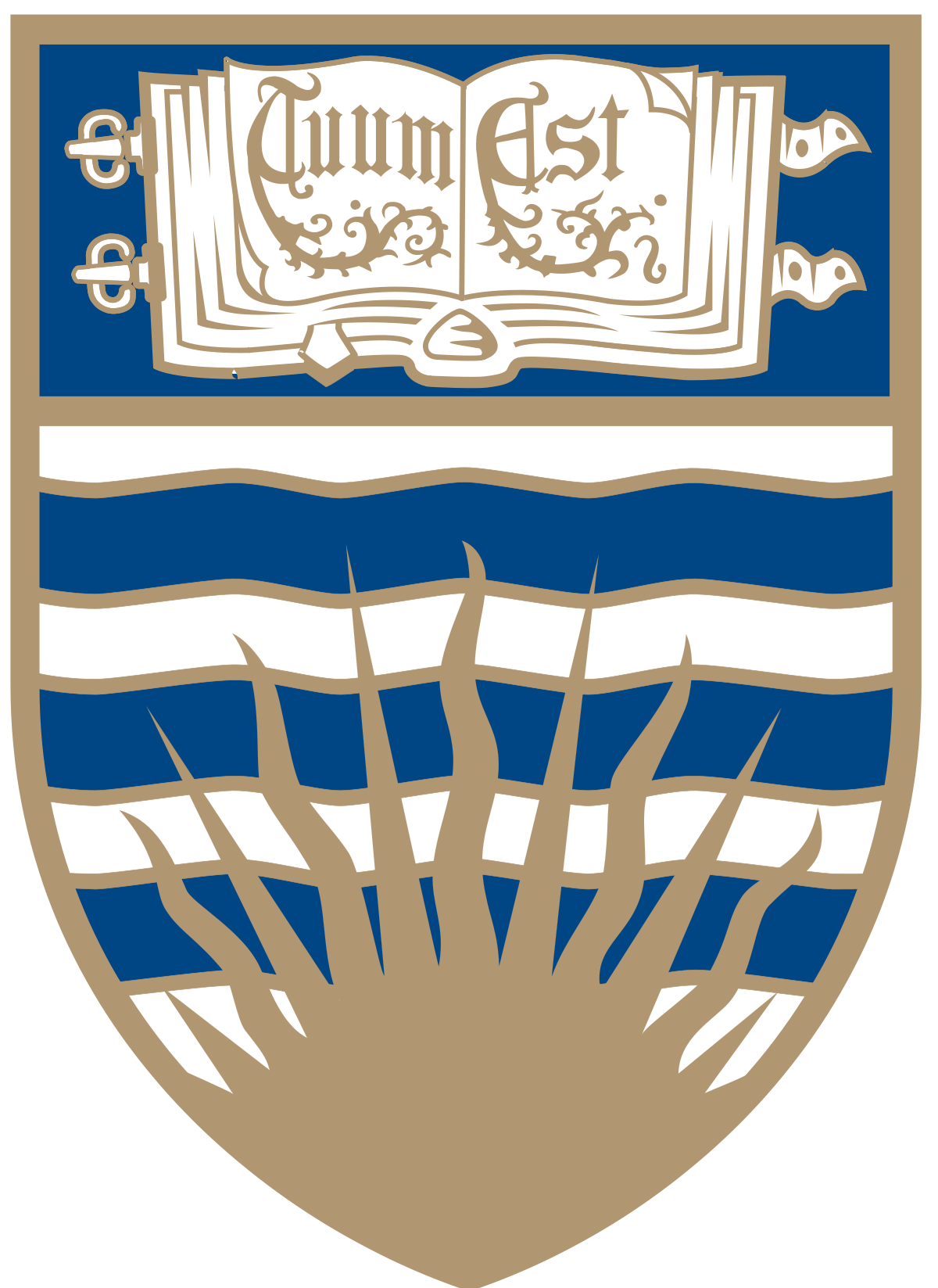 university of british columbia blue white and gold badge