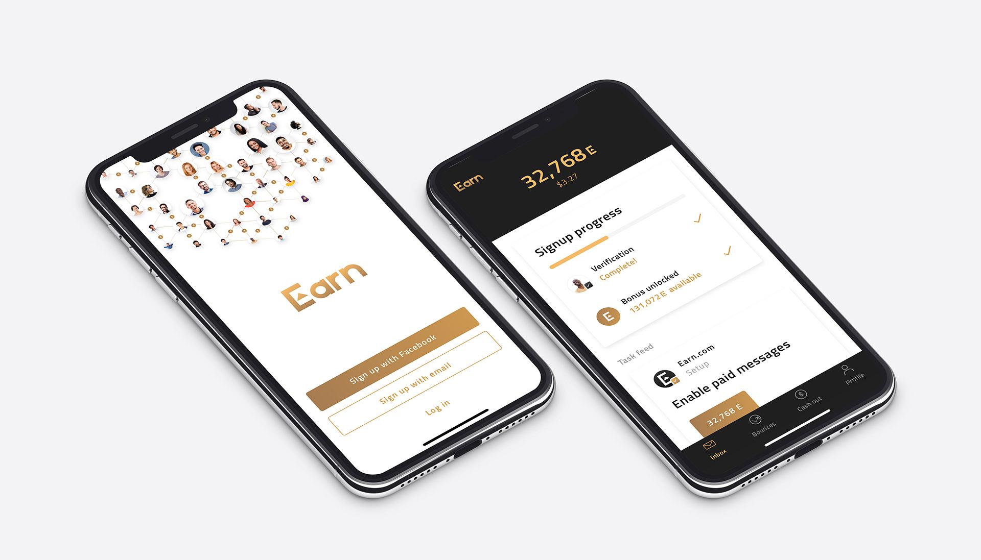 Earn.com token mobile app