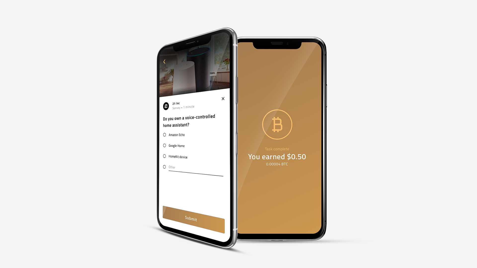 Earn Bitcoin by completing surveys on the 21 app