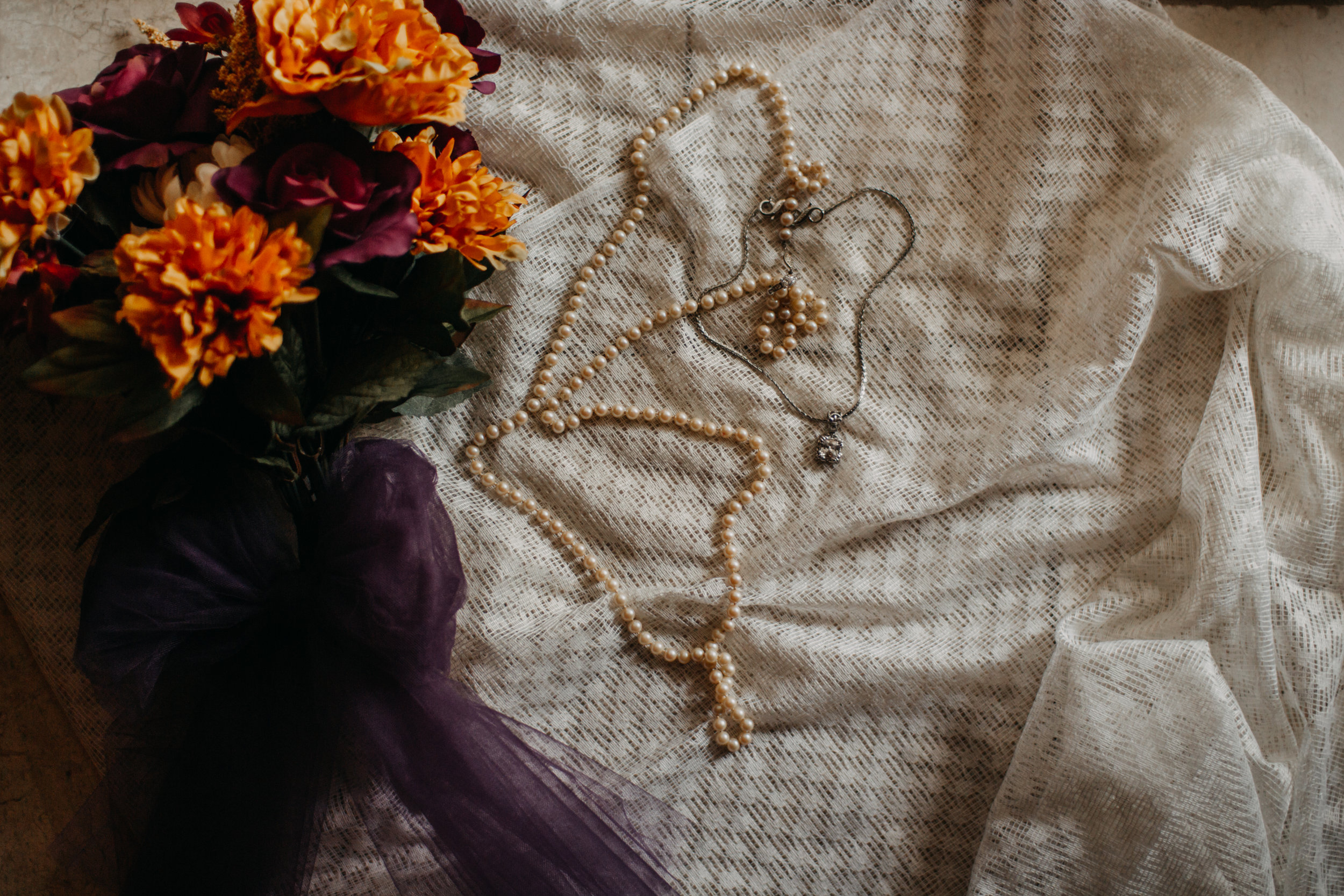 fall wedding bouquet with lace pearls and diamonds