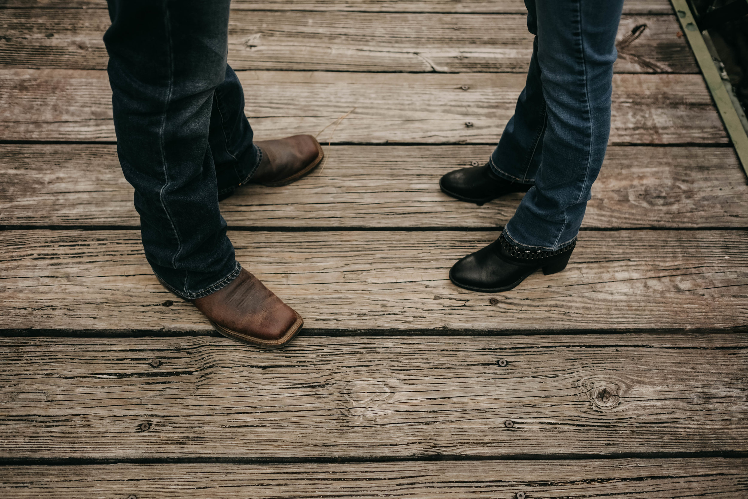rustic country couple feet