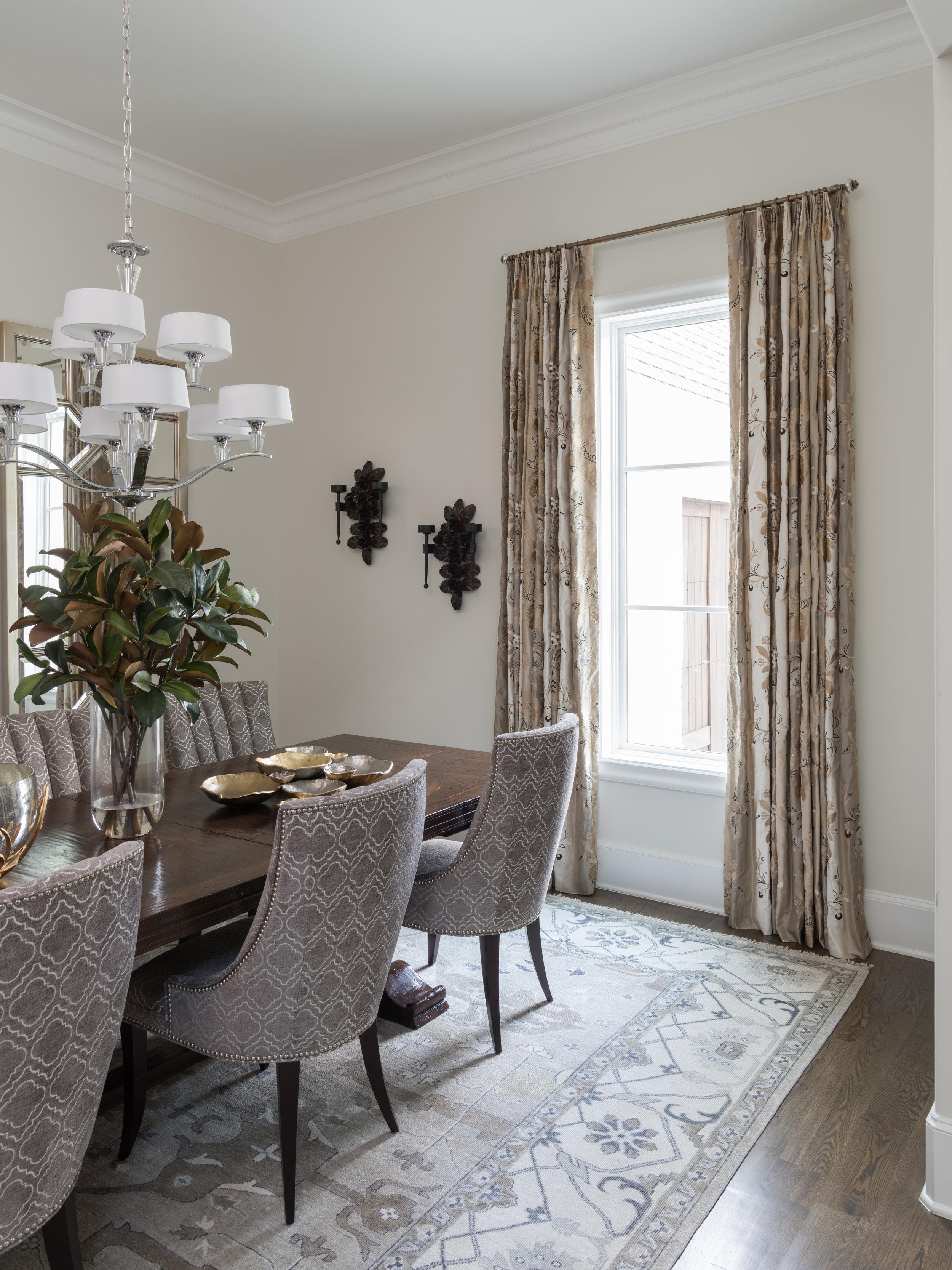 dining room drapery and custom upholstery