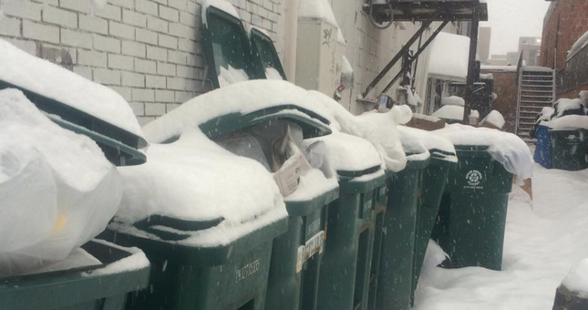 1.  These trash cans behind Starbucks –   Piles and piles of commercial trash from SU's favorite coffee chain. A sight you might pass on a spring day and greet with shudders somehow reveals its true glorious beauty under a fresh few inches of powdery magic. Breathtaking.