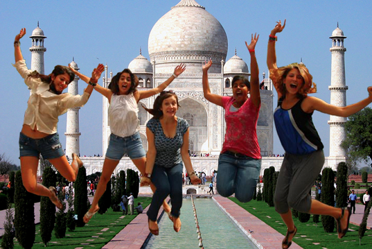 Can I have your life please? Jealousy is the only word. Please, please, please, make this your cover photo. Oh my God, I love this. You guys could all be models, seriously. Hell, you could be in the WNBA, look how high off the ground you are! Next time just come closer to the camera so I can see more of YOU and less of whatever that shit is in the background.