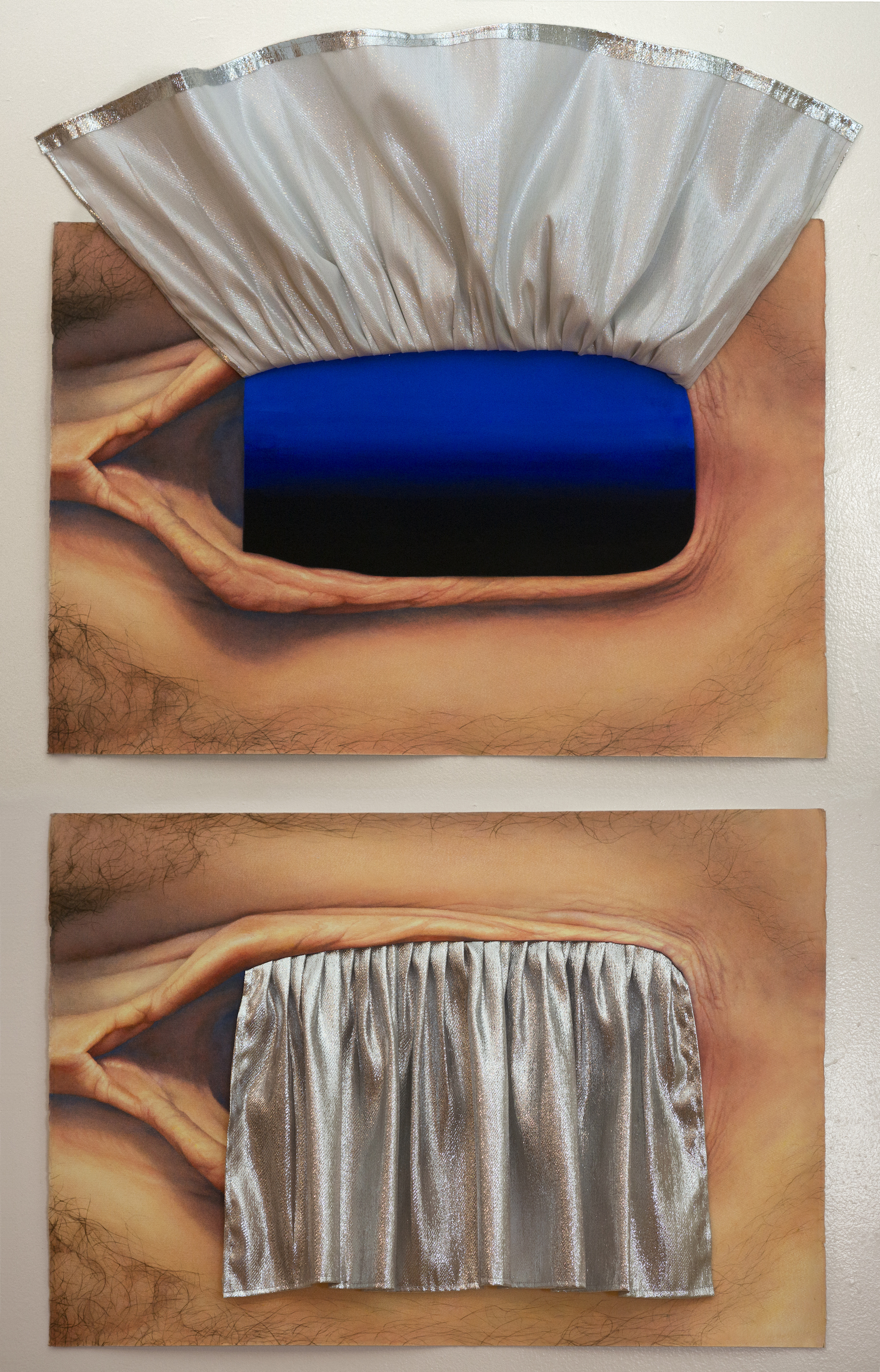 two views of {silver curtain/blue-black gradient, vagina}