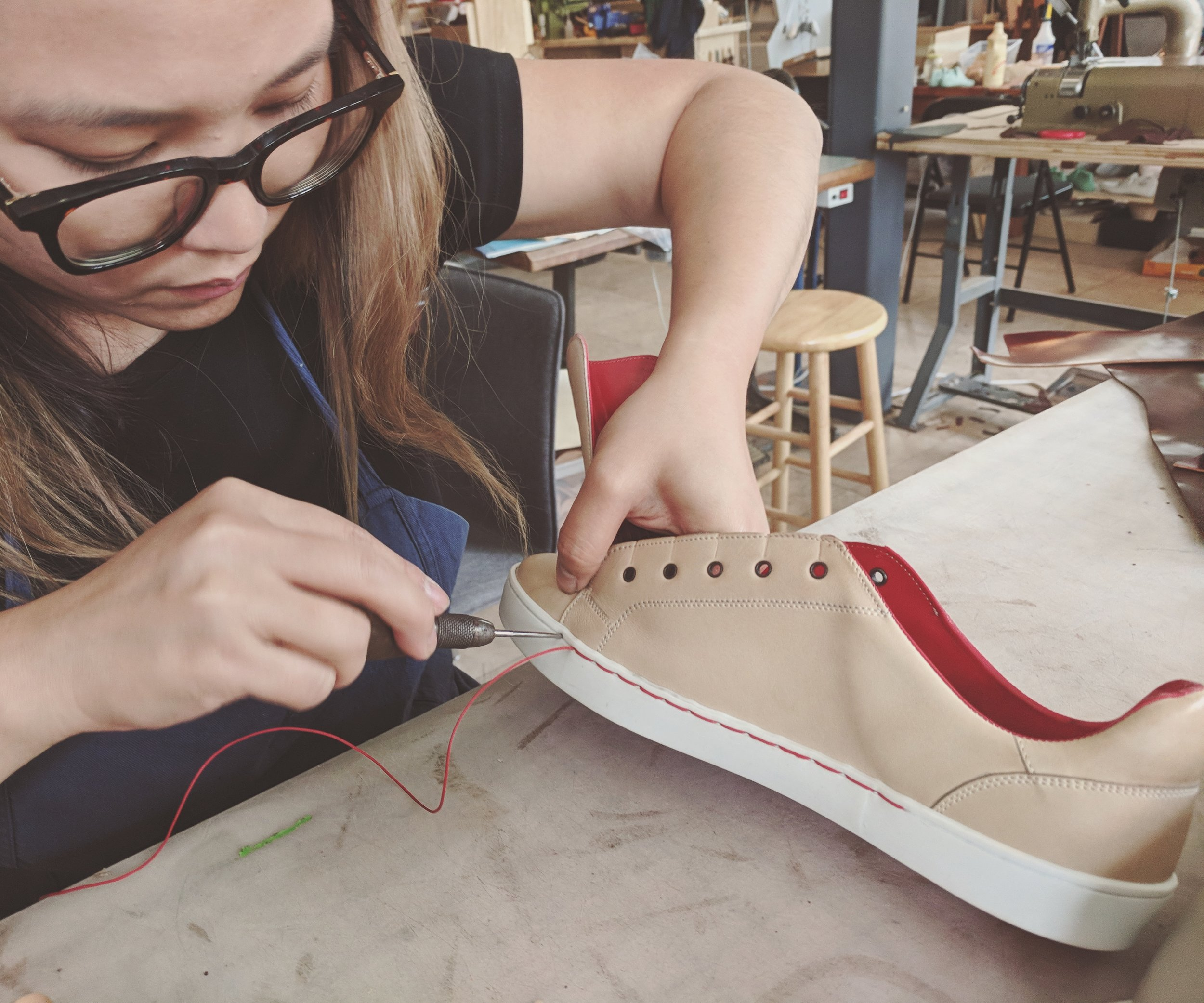 Melody stitching sneaker soles