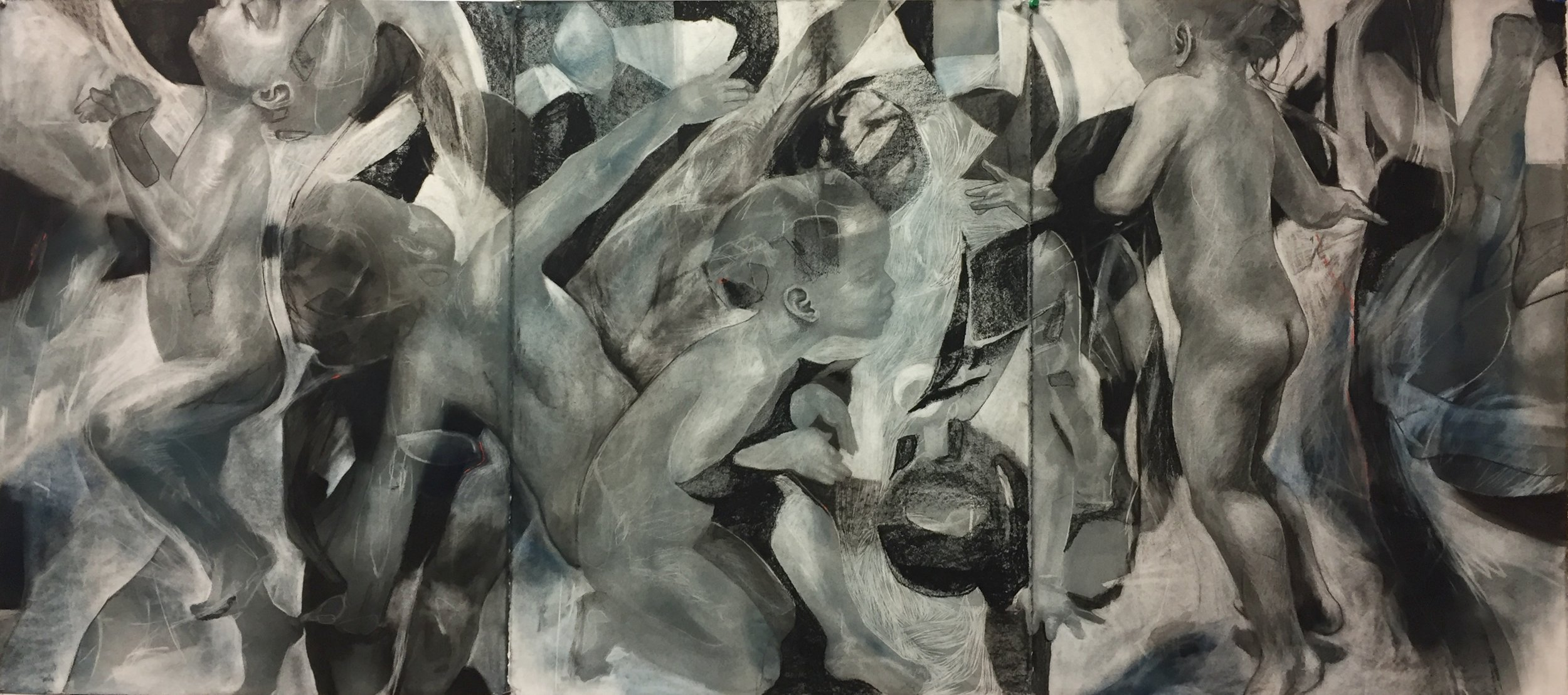 Imaginary Worlds, Charcoal on paper, 76 x 186cm