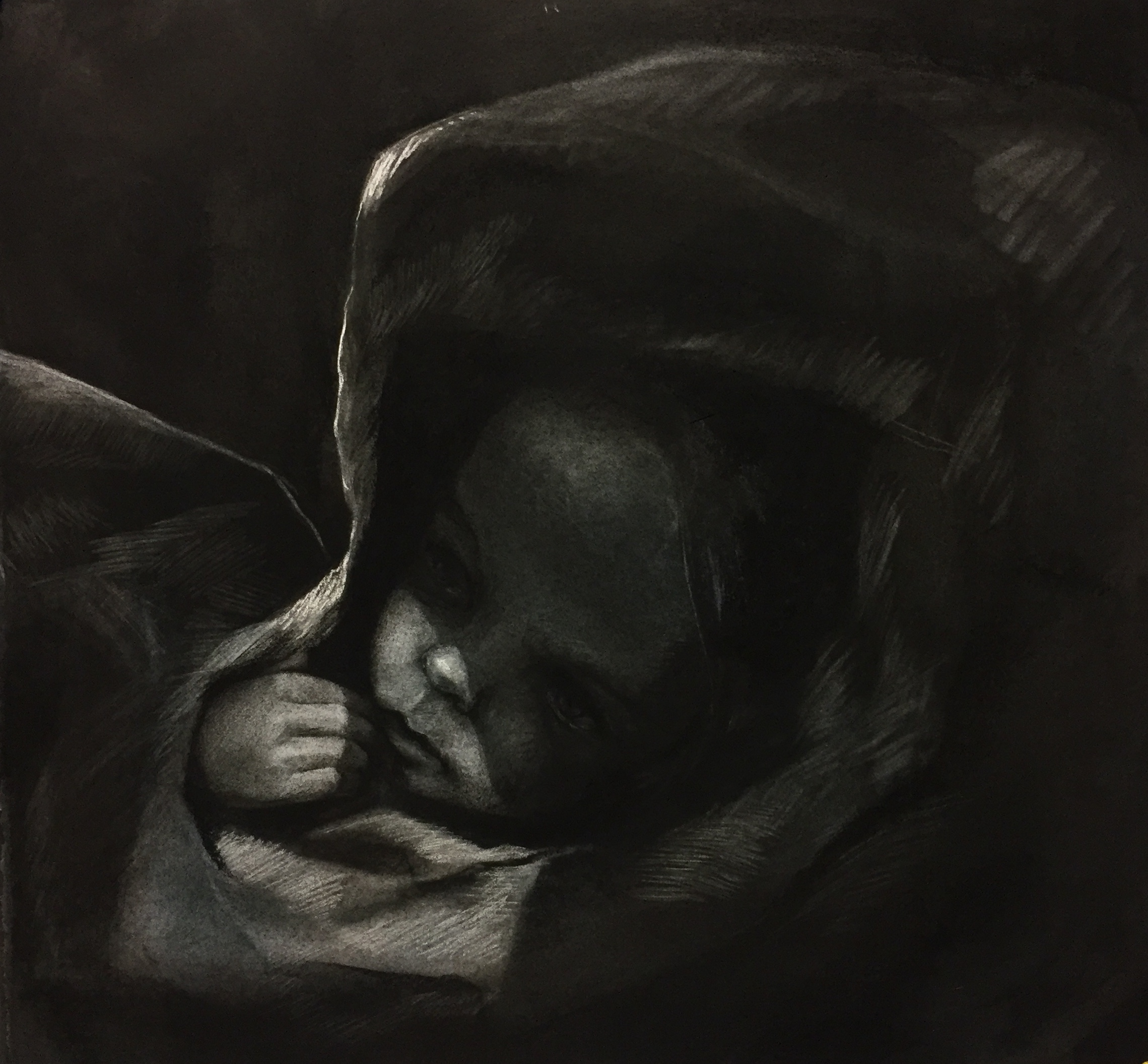 Croup, Charcoal on paper, 45 x 50cm
