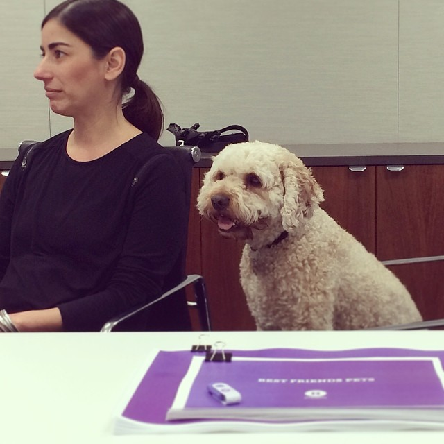 Carmela is joined by her doggo, Tuna, in a new business pitch.