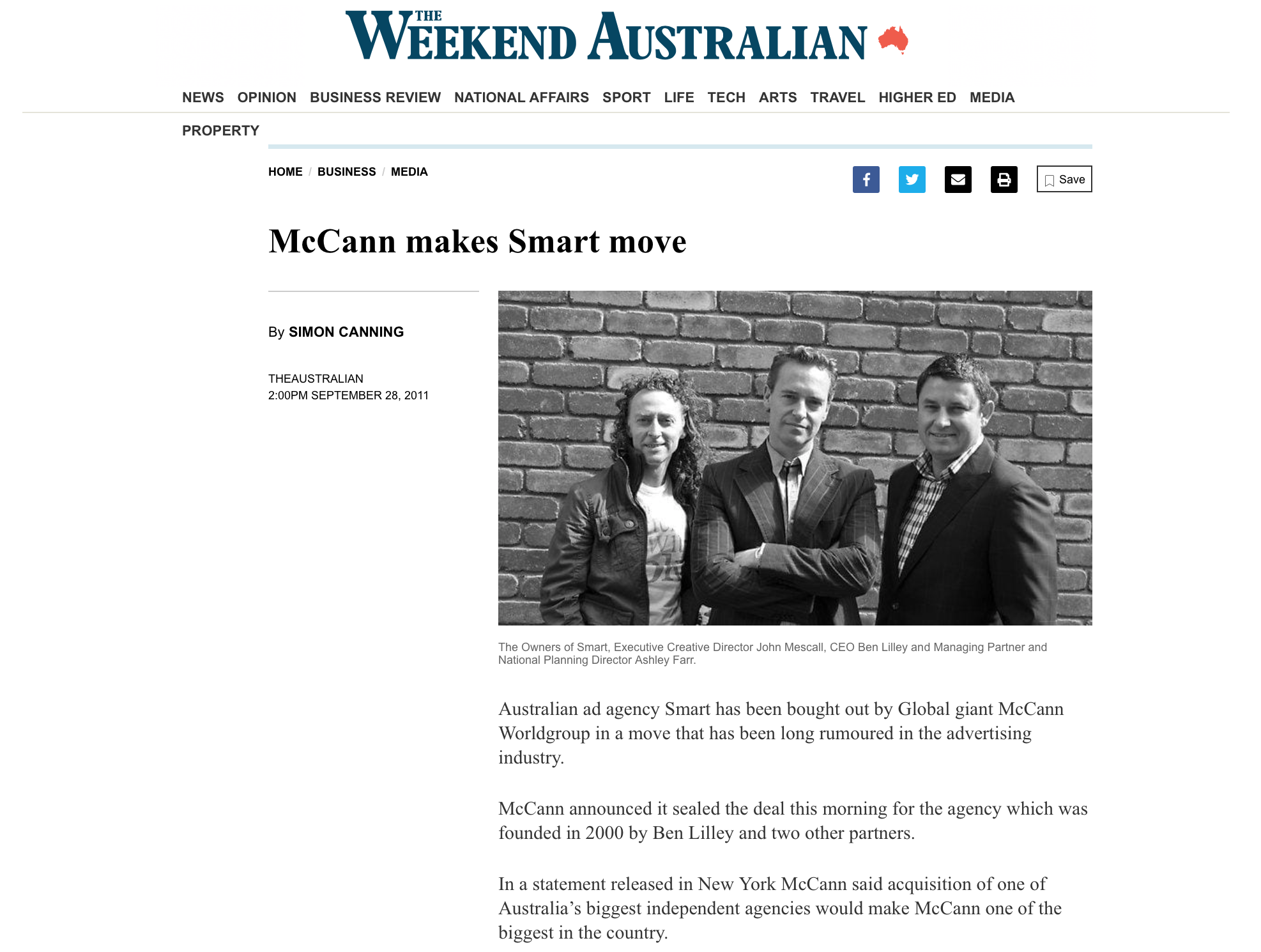 The Australian's report on SMART's acquisition by McCann.