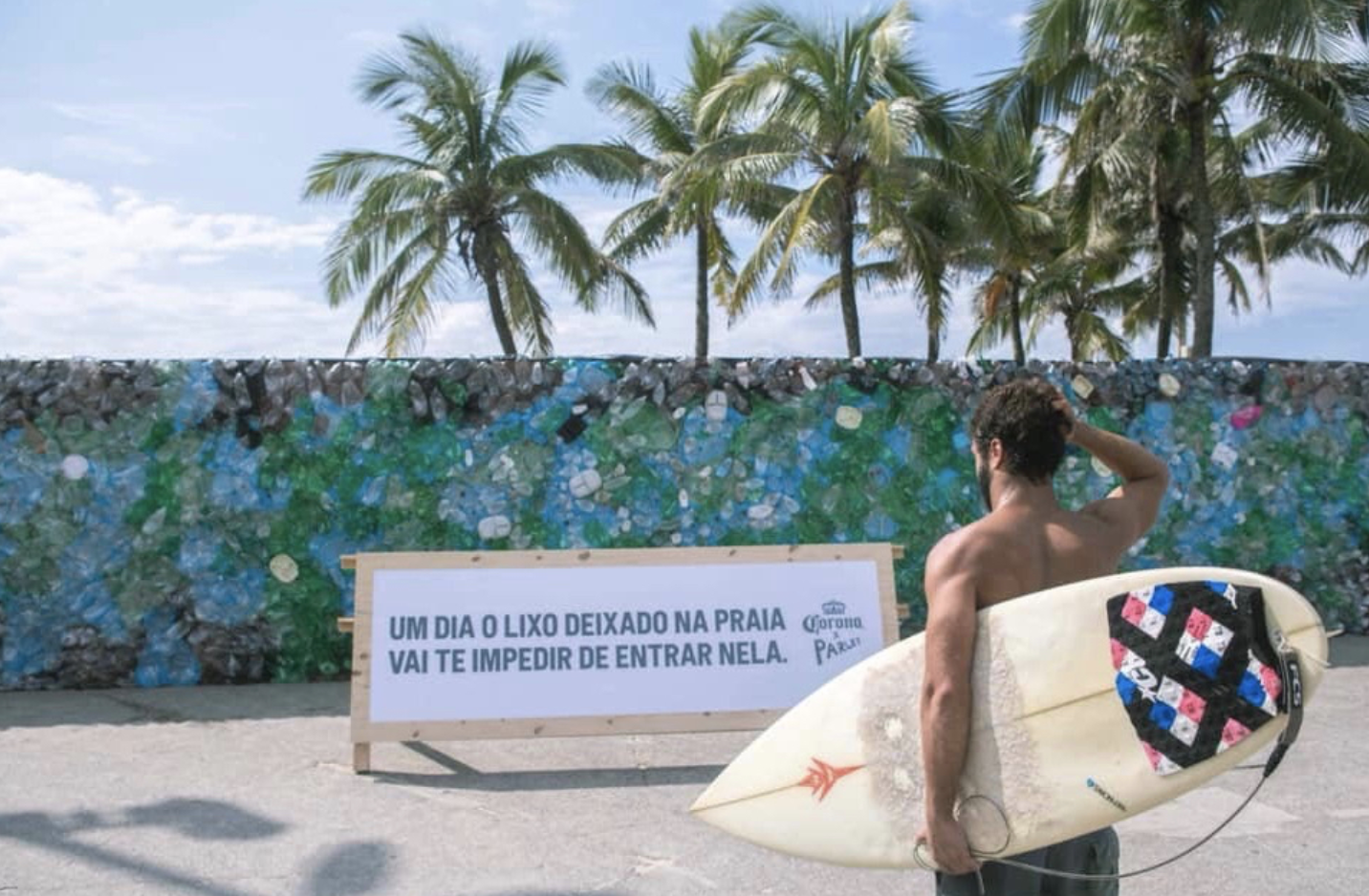 Corona's 'Trash wall' at Ipanema Beach, Brazil.