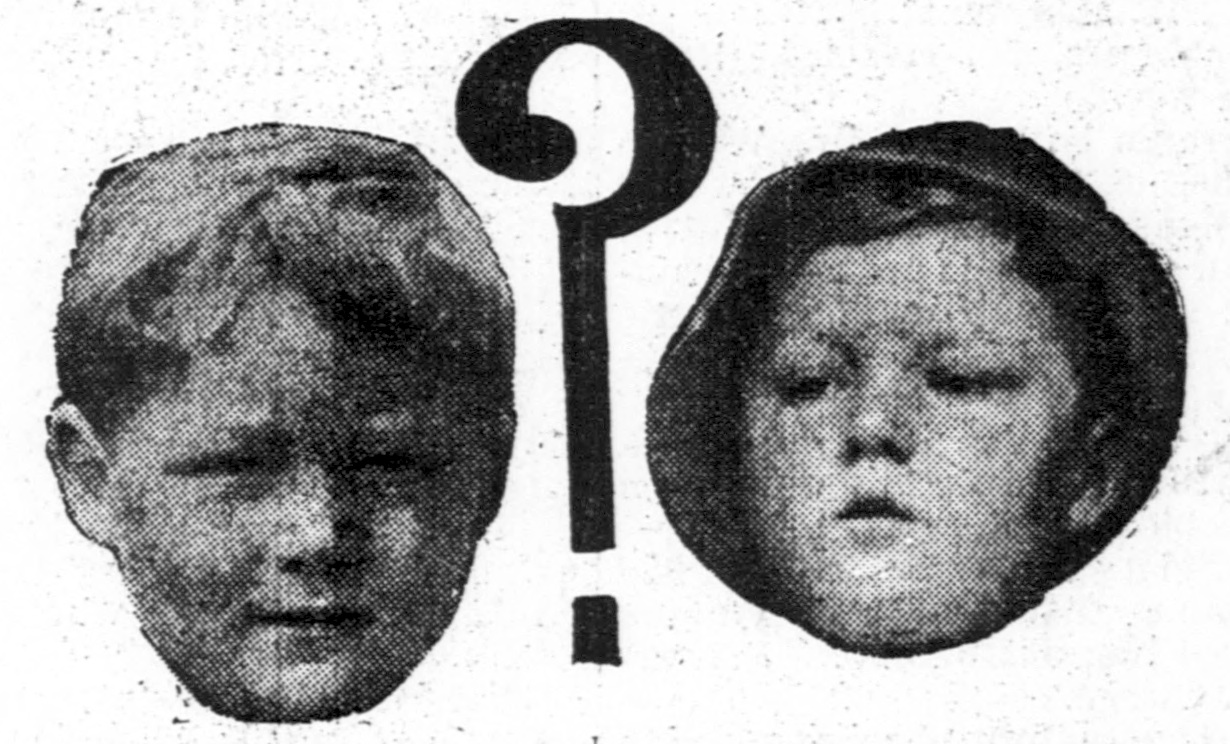 A side by side photo of Bobby Dunbar (left) and the boy found eight months later (right), published in a newspaper in 1914.