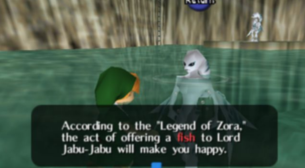 A shot not included in the final video that speaks directly of a fish offering to Jabu-Jabu.