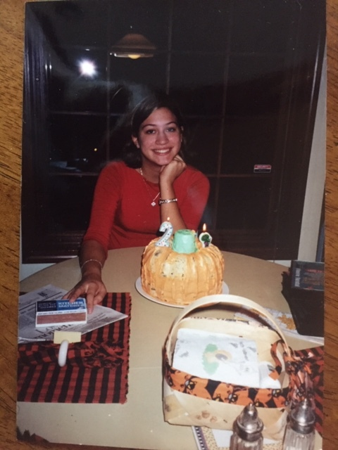 "Some birthday in my early twenties. Yes, I think that is a ""Baby Bop"" candle on my cake."