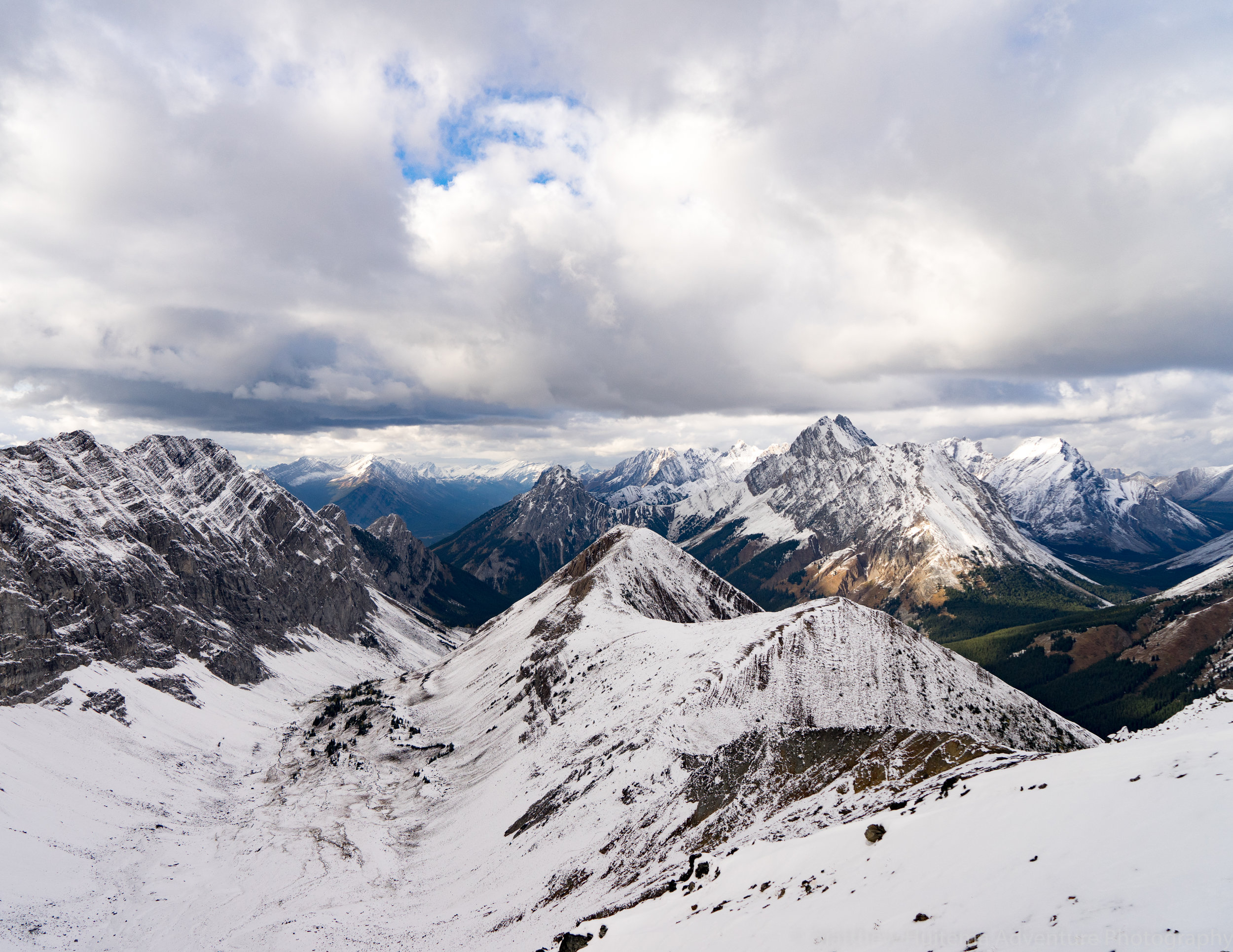 "Looking north from the first ""summit"" of Pocterra Ridge, with the Tombstone Mountain on the far right, and the rest of the Kananaskis Valley directly ahead."