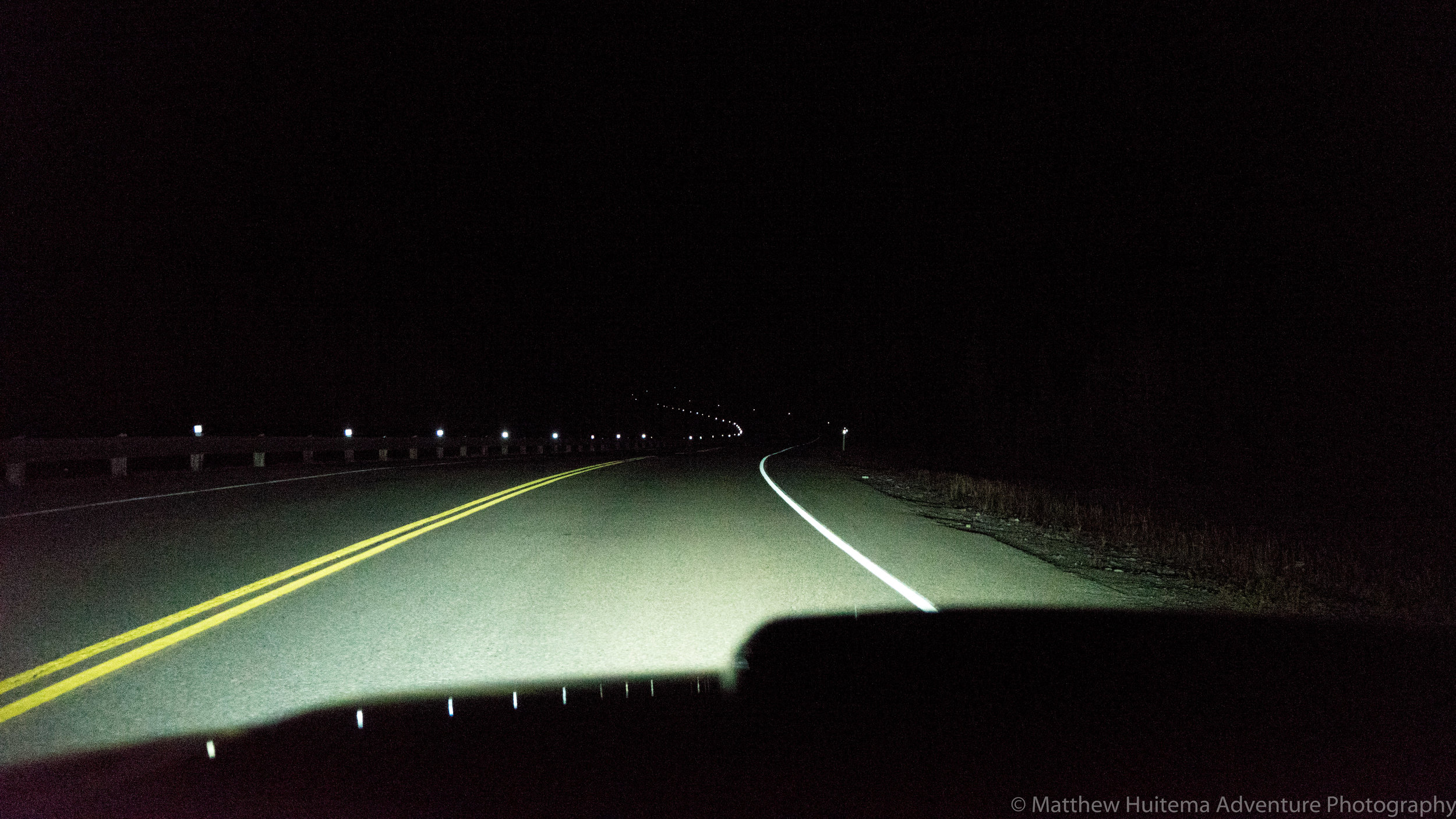 The pitch black drive home (Don't worry, I stopped driving to take this photo!)