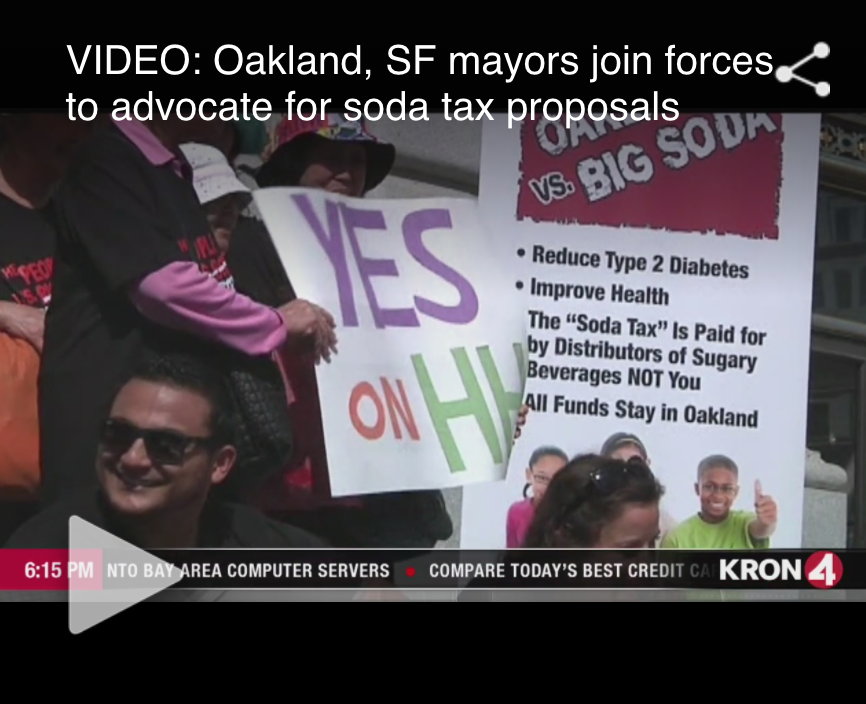 KRON 4  3 Oakland City Council members accuse mayor of shifting funds from soda tax 4/28/17   Read the full story by Bay City News