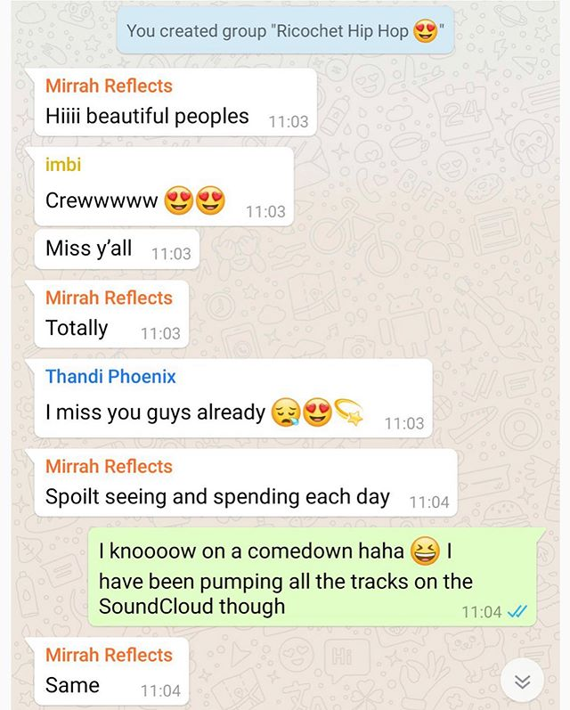 What goes on in a Ricochet SONGS WhatsApp group message... a whole lot of 💗💥