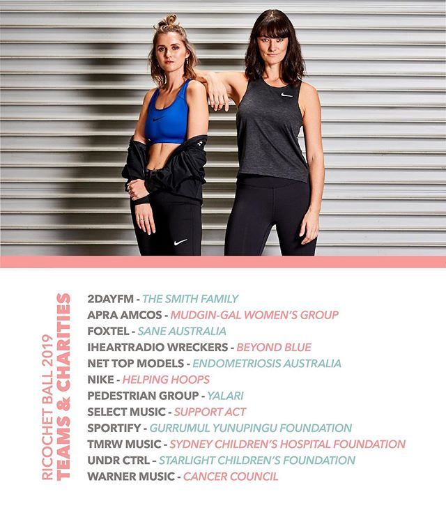 Announcing the 12 teams and the charities they are playing for at the 2019 Ricochet BALL. Who'll take out the trophy this year?  2DayFM - The Smith Family APRA AMCOS - Mudgin-Gal Foxtel - SANE Australia iHeartRadio - Beyond Blue Net Top Models - Endometriosis Australia  Nike - Helping Hoops pedestrian.tv - Yalari Select Music - Support Act Spotify - Gurrumul Yunupingu Foundation TMRW Music - Sydney Children's Hospitals Foundation UNDR ctrl - Starlight Children's Foundation Australia Warner Music Australia - Cancer Council Australia  Head here to donate and support your team! www.mycause.com.au/events/ricochetball