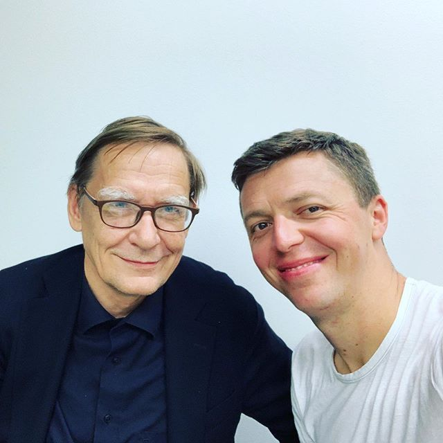 After concert Nr2 with the fantastic @Yle_Rso under Chief Conductor @hlintu - Kalevi Aho showed up in the dressing room. I played his percussion concerto (Siedi) so many times. See you all at Austrian Election Night 29.sep in Vienna. @wienerkonzerthaus . . @keynote_artist_management
