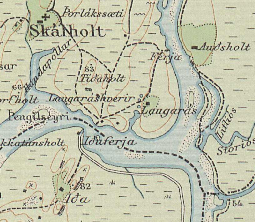 Laugarás 1908-1910. Herforingjaráðskort.