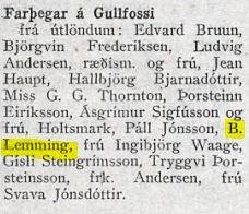 Vísir 31.01.1938 B. Lemming meðal farþega