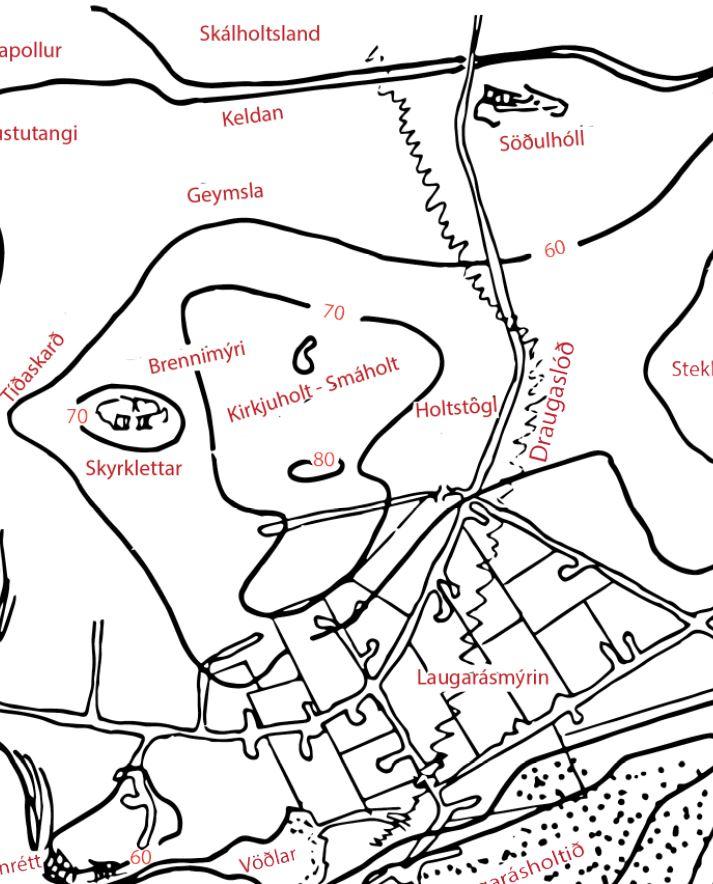 Draugaslóð, eins og Atli Harðarson teiknar hana inn á örnefnakort sem fylgdi grein Bjarna í Árnesingi.