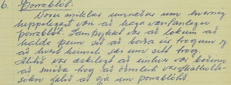 Úr fundargerð 11. nóv. 1961 (fundarritari Guðný Pálsdóttir, Hveratúni)