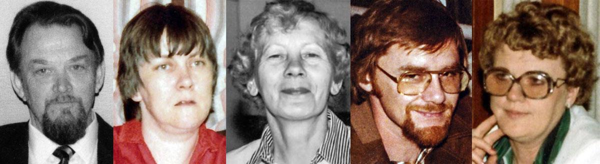 Þorrablótsnefnd 1975: f.v. Hjalti, Ingibjörg, Margrét, Gústaf, Sigurbjörg.