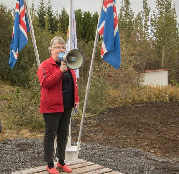 Elinborg Sigurðardóttir flytur ávarp sitt. Mynd Magnús Skúlason
