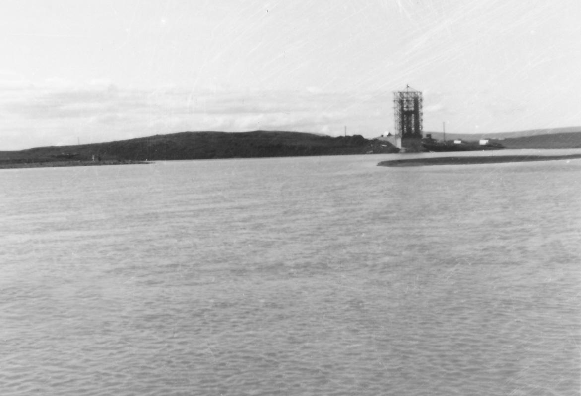 Syðri stöpull Hvítárbrúar í byggingu 1953.