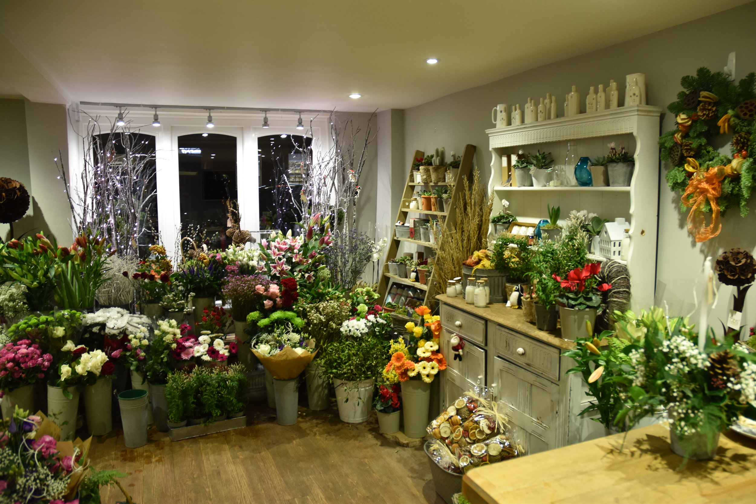 Inside the flower shop in Alresford
