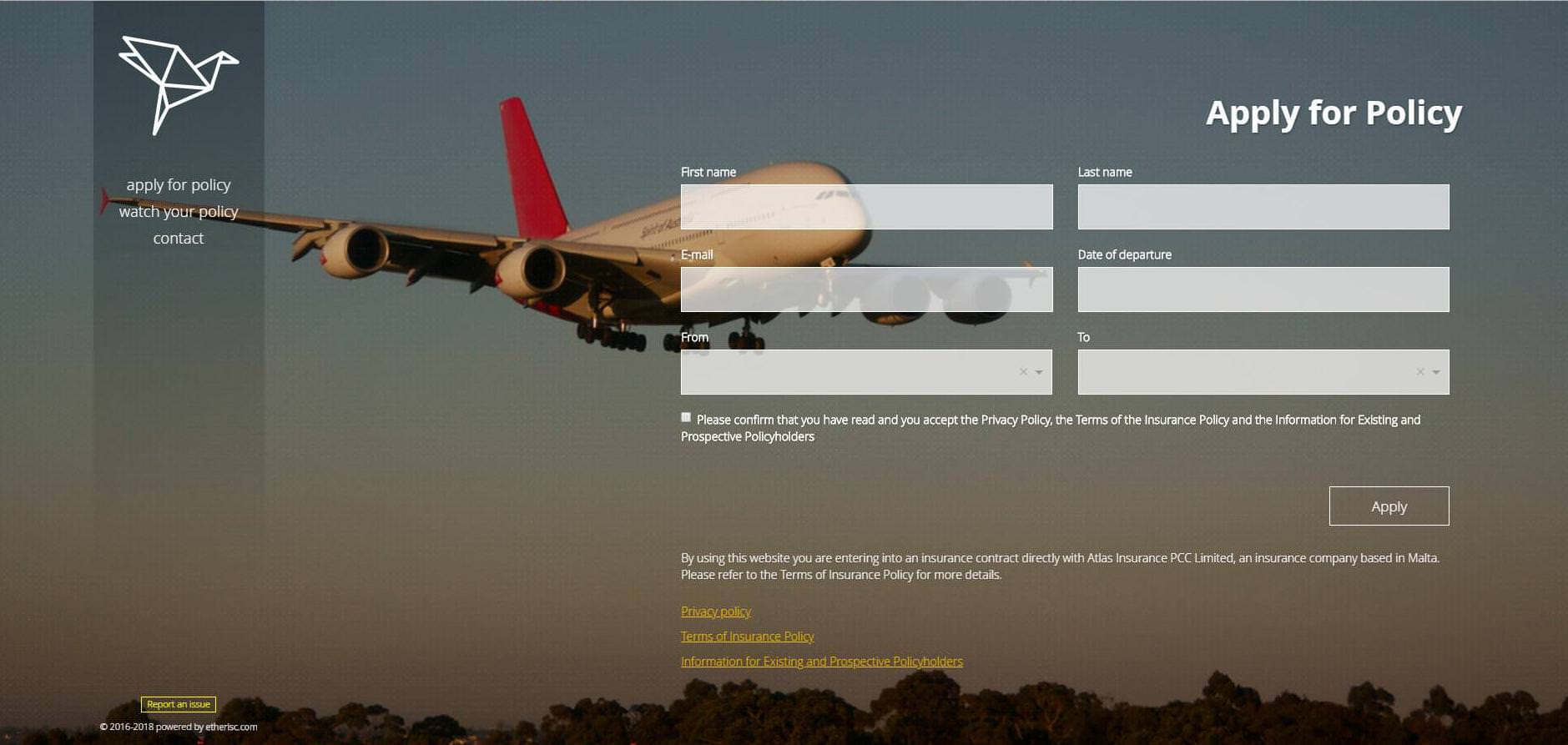 Etherisc's Flight Insurance product