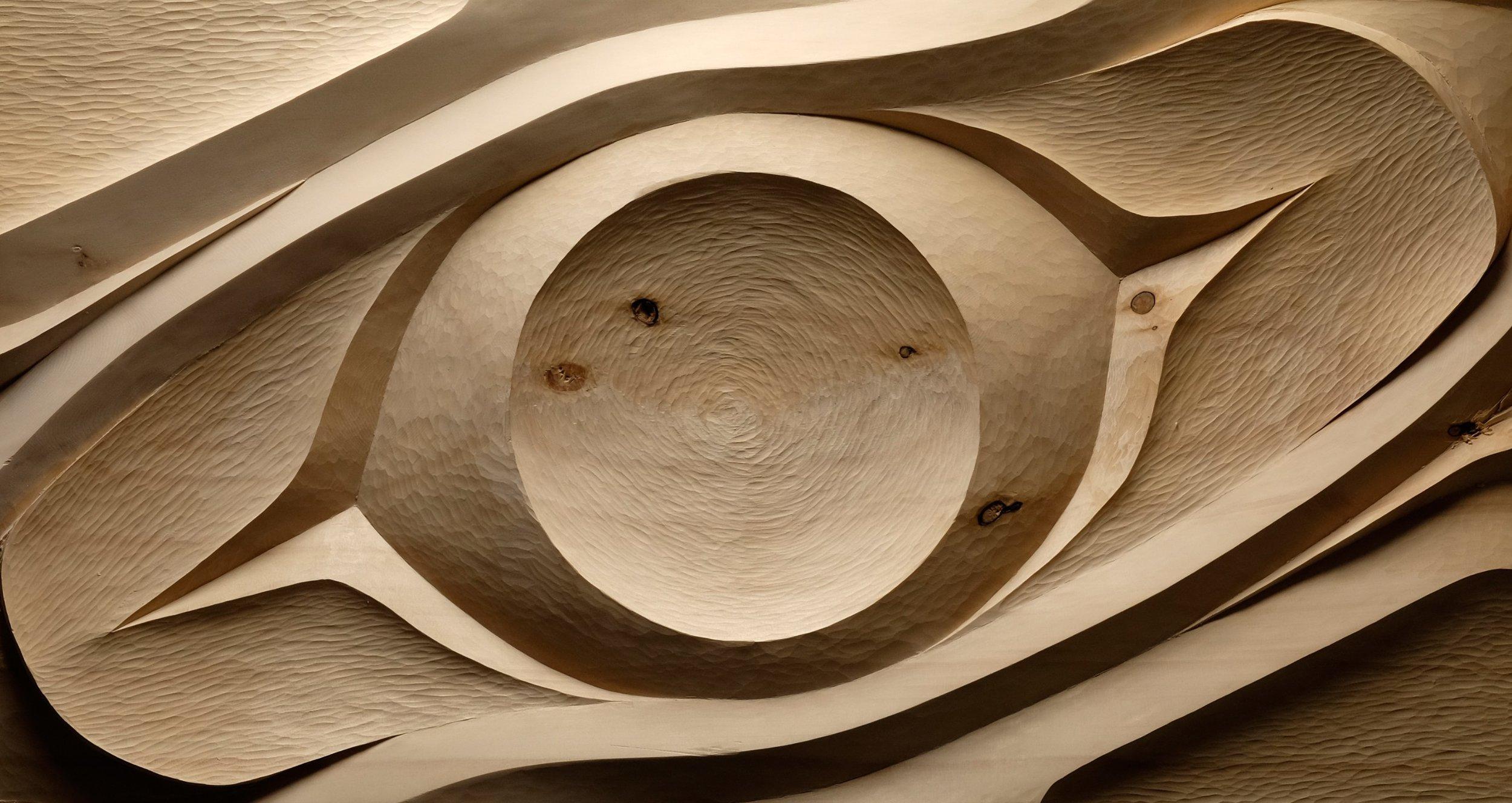 Eye of the Creator - Yellow cedar, copper lead - WIP