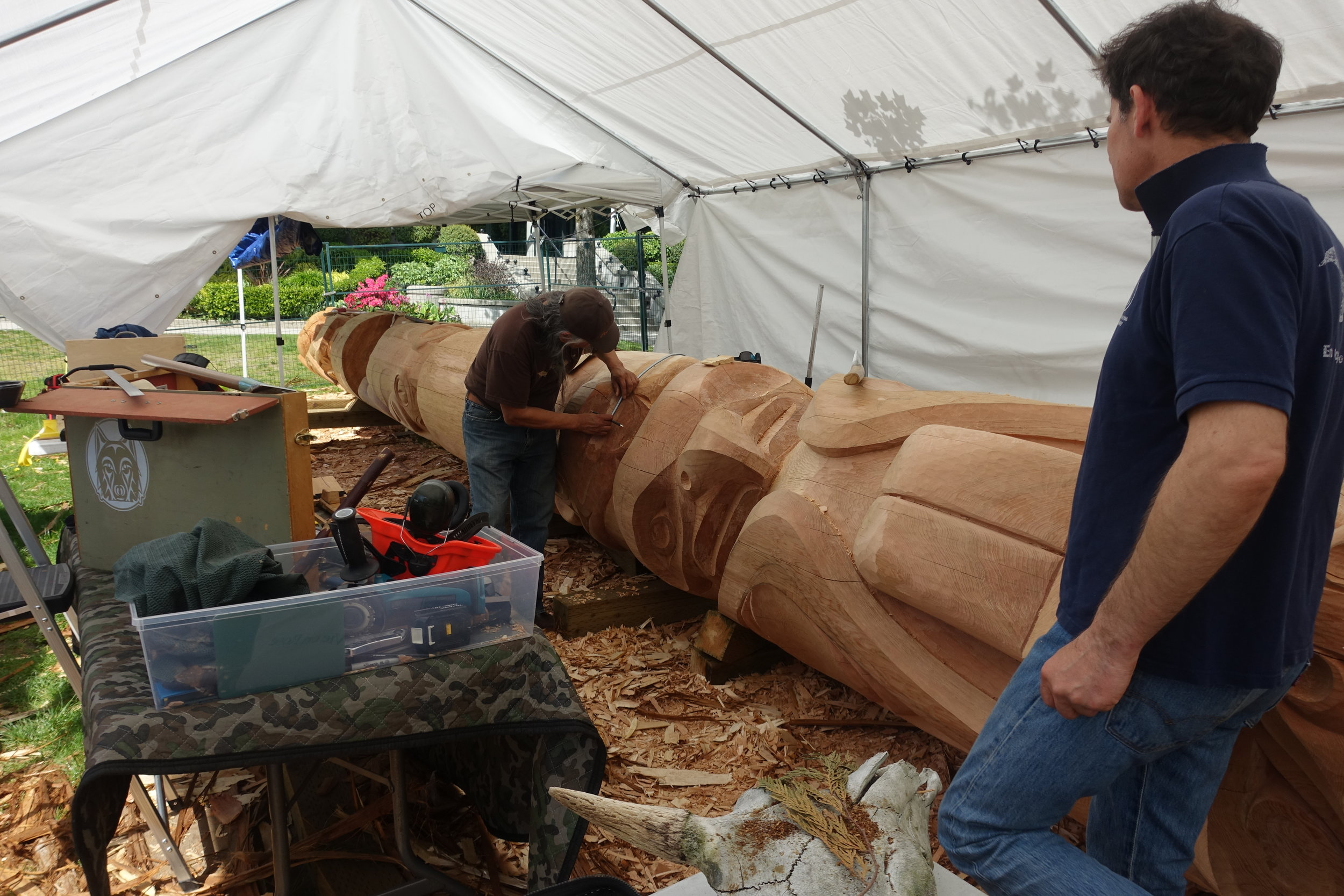 Carving a Legacy - The red cedar tree is estimated to be 350 years old. Both James and Rick Harry worked in collaboration on this 44' piece of beautiful wood.